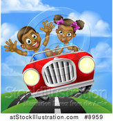 Vector Illustration of a Happy Black Girl Driving a Boy and Catching Air in a Convertible Car by AtStockIllustration