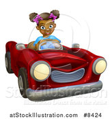Vector Illustration of a Happy Black Girl Driving a Red Convertible Car by AtStockIllustration