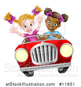 Vector Illustration of a Happy Black Girl Driving a Red Convertible Car with a White Girl in the Passenger Seat by AtStockIllustration