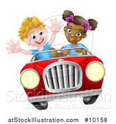 Vector Illustration of a Happy Black Girl Driving a White Boy and Catching Air in a Convertible Car by AtStockIllustration