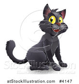 Vector Illustration of a Happy Black Halloween Cat with Yellow Eyes by AtStockIllustration