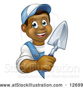 Vector Illustration of a Happy Black Male Gardener Holding a Garden Trowel Around a Sign by AtStockIllustration