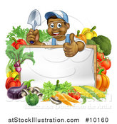 Vector Illustration of a Happy Black Male Gardener in Blue, Holding up a Garden Shovel and Giving a Thumb up over a Blank White Sign with Produce by AtStockIllustration