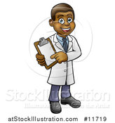Vector Illustration of a Happy Black Male Scientist Holding a Clipboard by AtStockIllustration