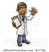 Vector Illustration of a Happy Black Male Scientist Waving and Holding a Clipboard by AtStockIllustration