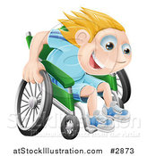 Vector Illustration of a Happy Blond Boy Racing Fast in His Wheelchair by AtStockIllustration