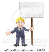 Vector Illustration of a Happy Blond Businessman Holding a Sign by AtStockIllustration