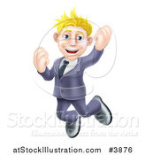 Vector Illustration of a Happy Blond Businessman Jumping by AtStockIllustration