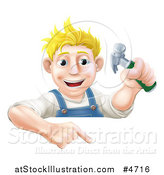 Vector Illustration of a Happy Blond Carpenter Man Holding a Hammer and Pointing down at a Sign by AtStockIllustration