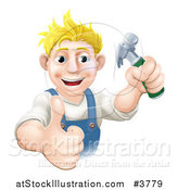 Vector Illustration of a Happy Blond Carpenter Man Holding a Hammer and Thumb up by AtStockIllustration