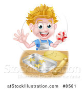 Vector Illustration of a Happy Blond Caucasian Boy Baking Cookies by AtStockIllustration