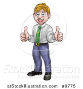 Vector Illustration of a Happy Blond Caucasian Business Man Giving Two Thumbs up by AtStockIllustration