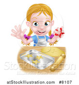 Vector Illustration of a Happy Blond Caucasian Girl Baking Cookies and Holding a Cutter by AtStockIllustration