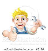 Vector Illustration of a Happy Blond Caucasian Mechanic Man Holding a Wrench and Thumb up over a Sign by AtStockIllustration