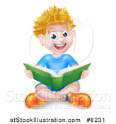 Vector Illustration of a Happy Blond Caucasian School Boy Reading a Book on the Floor by AtStockIllustration