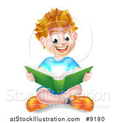 Vector Illustration of a Happy Blond Caucasian School Boy Reading a Book on the Floor, with Magical Light by AtStockIllustration