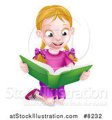 Vector Illustration of a Happy Blond Caucasian School Girl Kneeling and Reading a Book by AtStockIllustration