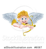 Vector Illustration of a Happy Blond Caucasian Valentines Day Cupid Aiming a Gold Heart Arrow with His Bow over a Sign by AtStockIllustration