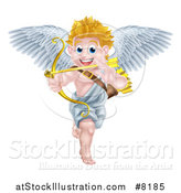 Vector Illustration of a Happy Blond Caucasian Valentines Day Cupid Aiming an Arrow by AtStockIllustration