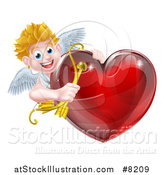 Vector Illustration of a Happy Blond Caucasian Valentines Day Cupid Holding a Bow and Arrow Around a Shiny Red Heart by AtStockIllustration