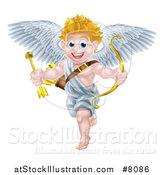 Vector Illustration of a Happy Blond Caucasian Valentines Day Cupid Holding a Gold Heart Arrow and Bow by AtStockIllustration