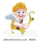 Vector Illustration of a Happy Blond Caucasian Valentines Day Cupid Holding a Gold Heart Arrow and His Bow Around a Sign by AtStockIllustration