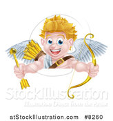 Vector Illustration of a Happy Blond Caucasian Valentines Day Cupid Holding a Gold Heart Arrow and His Bow over a Sign by AtStockIllustration