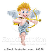 Vector Illustration of a Happy Blond Caucasian Valentines Day Cupid Smiling and Aiming an Arrow by AtStockIllustration