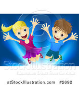 Vector Illustration of a Happy Blond Girl and Brunette Boy Jumping over Blue by AtStockIllustration