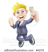 Vector Illustration of a Happy Blond Graduate Business Man Jumping and Holding a Diploma by AtStockIllustration