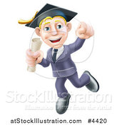 Vector Illustration of a Happy Blond Graduate Business Man Jumping Wearing a Graduation Cap and Holding a Diploma 2 by AtStockIllustration