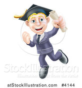 Vector Illustration of a Happy Blond Graduate Business Man Jumping Wearing a Graduation Cap and Holding a Diploma by AtStockIllustration
