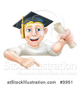Vector Illustration of a Happy Blond Graduate Man Holding a Certificate and Pointing down at a Sign by AtStockIllustration