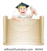 Vector Illustration of a Happy Blond Graduate Man Holding a Degree and Pointing down at a Parchment Scroll by AtStockIllustration