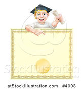 Vector Illustration of a Happy Blond Graduate Man Holding a Scroll and Pointing down at a Certificate by AtStockIllustration