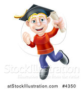 Vector Illustration of a Happy Blond Graduate Man Jumping with a Scroll in Hand by AtStockIllustration