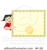Vector Illustration of a Happy Blond Graduate Man Looking Around and Pointing at a Certificate by AtStockIllustration