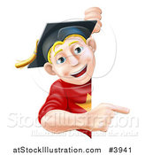 Vector Illustration of a Happy Blond Graduate Man Pointing to a Sign by AtStockIllustration