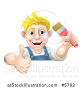 Vector Illustration of a Happy Blond Male Caucasian Painter Holding a Paintbrush and Thumb up over a Sign by AtStockIllustration