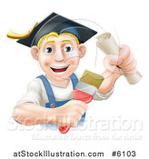 Vector Illustration of a Happy Blond Male Graduate Painter Holding a Brush and Diploma by AtStockIllustration