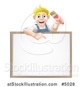 Vector Illustration of a Happy Blond Male House Painter Holding a Brush and Pointing down to a White Board Sign by AtStockIllustration