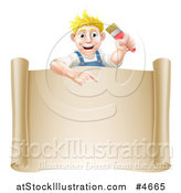 Vector Illustration of a Happy Blond Male House Painter Holding a Brush and Pointing over a Scroll Sign by AtStockIllustration