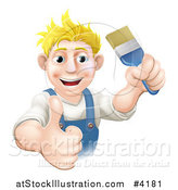 Vector Illustration of a Happy Blond Male House Painter Holding a Brush and Thumb up by AtStockIllustration