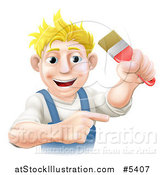 Vector Illustration of a Happy Blond Male Painter Holding up and a Brush and Pointing by AtStockIllustration