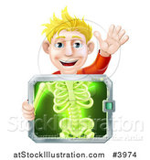 Vector Illustration of a Happy Blond Man Holding an Xray Screen over His Torso and Waving by AtStockIllustration