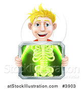 Vector Illustration of a Happy Blond Man Holding an Xray Screen over His Torso by AtStockIllustration