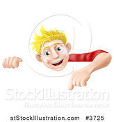 Vector Illustration of a Happy Blond Man Pointing down at a Sign by AtStockIllustration
