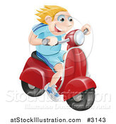 Vector Illustration of a Happy Blond Man Speeding on a Moped by AtStockIllustration