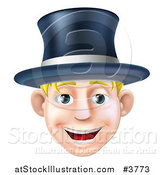 Vector Illustration of a Happy Blond Man Wearing a Top Hat and Smiling by AtStockIllustration