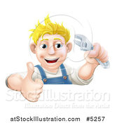Vector Illustration of a Happy Blond Mechanic Man Holding a Spanner Wrench and Thumb up over a Sign by AtStockIllustration